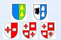 NÁVRHY ZNAKŮ. V Luženičkách mají na výběr z těchto zanků, ke každému ještě existuje návrh vlajky.