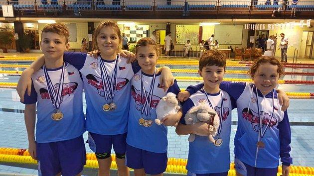 Na fotce z Plaveckého bazénu v Domažlicích zleva jsou: Jan Husník, Lucie Jahnová, Andrea Nushartová, Tomas Nushart a Anežka Trhlíková