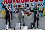 Druhý závod Mascom Kartcross Cupu 2020 v Poříčí nad Sázavou - Ducháček (oranžový kart č.3) vyhrál, Jiří Götz (zelenožlutý kart č. 46) dojel šestý.