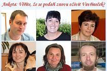 Na anketní otázku odpovídali (nahoře zleva) David Rácz, Nikola Kinzlerová, Marie Kopecká, dále (dole zleva) Jiřina Holoubková, Michaela Čániová a Štěpán Rada.
