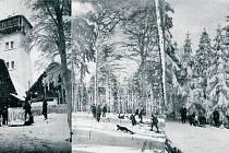 Lyžařský výlet na Čerchov 10. března 1917 na snímcích Tondy Hanzlíčka z Plzně.