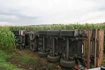 Pod kamionem se utrhla krajnice a skončil na boku v kukuřici.