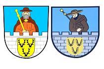 Vlevo současná, nejčastěji používaná podoba znaku. Vpravo je druhá varianta znaku, která visí například na zdravotním středisku.