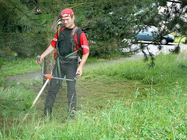 """Zaměstnanec MTBS Holýšov seká trávu na sídlišti Pod Makovým vrchem. Někteří občané si za odměnu od radnice trávu sekají sami. """"Na ten zbytek jsme tu my,"""" říká Spurný."""