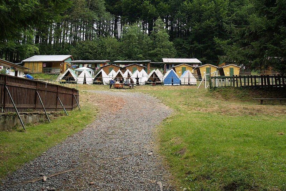 Tábor v Rudolfově Pile.