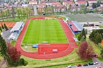 Současná podoba městského stadionu Střelnice v Domažlicích.