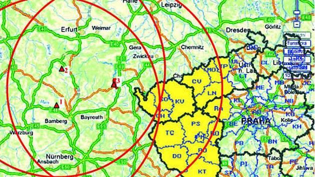 Omezení platí v okruhu 150 kilometrů od ohnisek nemoci. Vyhlášeno bylo pro celé okresy Plzeňského kraje a znázorňuje ho kruh nejvíce vpravo.