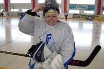 Jitka Krouparová, kmenová hráčka HC Plzeň, chytala za HC Poběžovice.