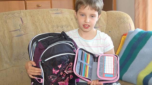 Ivanka Maierová z Tlumačova má už vše nachystáno na svůj první školní den.