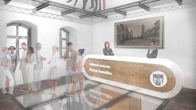 RECEPCE. Od pultu budou zaměstnanci dohlížet nad exponáty a také poskytovat informace hostům Hvozdu.