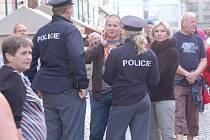 Policisté dohlíželi na pořádek.
