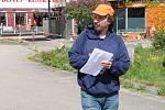 Petiční akce pendlerů v Schafbergu. Iniciátor Ondřej Mottl. Foto: Karl Reitmeier