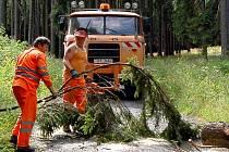 Vzrostlý strom, který doslova rozštípl silný vítr, museli cestáři  odtranit  na  silnici  ve Filipově Hoře.