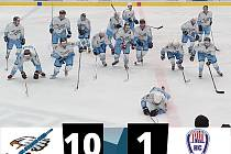 Pozor na ně! Hokejisté Chebu posílení o extraligového Davida Hrušku z Karlových Varů v minulém utkání porazili lídra Klatovy B 10:1 a veřejně vyhlásili útok na postup do II. ligy.