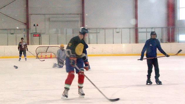 DOMAŽLICKÝ ZIMNÍ STADION využívají kromě amatérských hokejových týmů i školy. Na snímku gymnazisté při hodině tělocviku. Plná cena za 60 minut pronájmu plochy činí 2200 Kč.