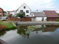 V ÚJEZDĚ BYDLÍ RÁDI. Důkazem jsou vodník a lekníny na rybníčku.