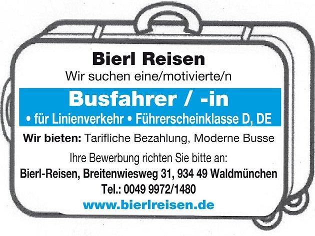 Bierl Reisen Waldmünchen  hledá řidiče /ku autobusu