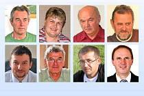 BÝVALÍ VRCHOLNÍ  ZÁSTUPCI OBCÍ. Nahoře zleva Rudolf Wilhelm, Radka Tremlová, Václav Valečka, Zdeněk Bosák, dole zleva Pavel Wolf,  Václav Svoboda, Václav Faina a Dalibor Kubů.