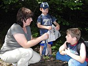 Děti s rodiči se vydaly do pohádkového lesa, který pro ně připravili pracovníci Domina.
