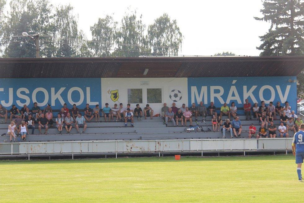 Jedenáctigólová demolice Chodova B (oranžové fresy) v Mrákově s místní rezervou (modré dresy).