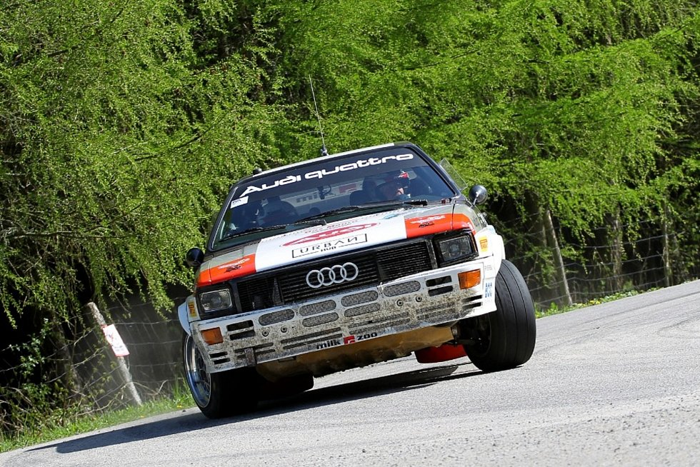 Vítězná italská posádka Historic Vltava Rallye 2021 ´Zippo´ - Denic Piceno s Audi Quattro A1.