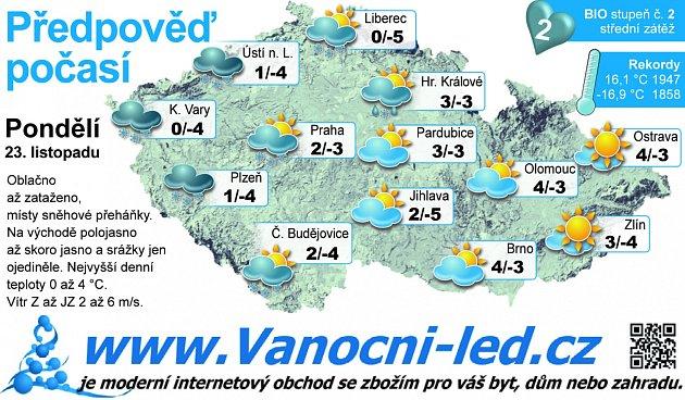 Předpověď počasí na pondělí 23.listopadu.