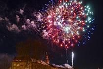 Novoroční ohňostroj v Hradci Králové.