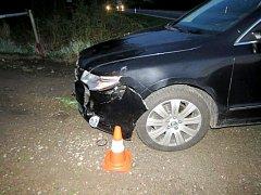 Dopravní nehoda za účasti lesní zvěře na silnici II. třídy v katastru Chlumce nad Cidlinou.