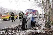 Havárie osobního automobilu v Třebši.