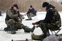 Na zamrzlém soukromém rybníku v Holohlavech na Hradecku chytají v dírkách v ledu rybáři pstruhy, štiky, candáty a jesetery.
