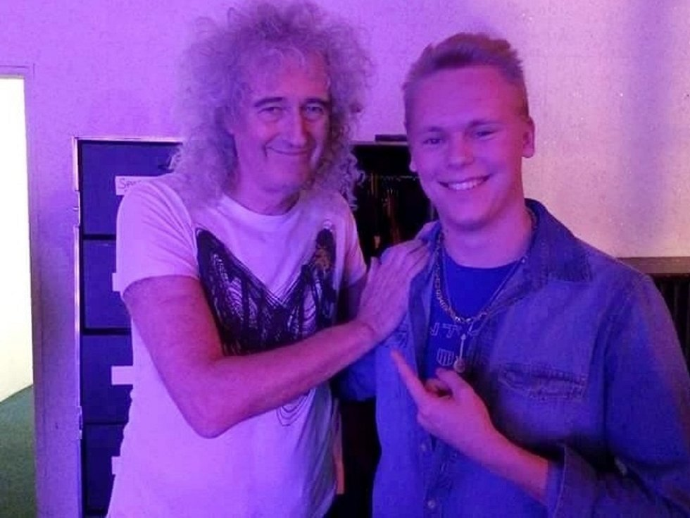 Zpěvák Milan Šatník a kytarista kapely Queen Brian May.