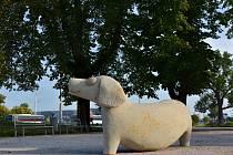 Parčík zpestřila socha psa.