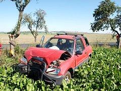 Havárie osobního automobilu v obci Skochovice.