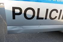 Na policejní auto zaútočil přímo na dálnici kozel.