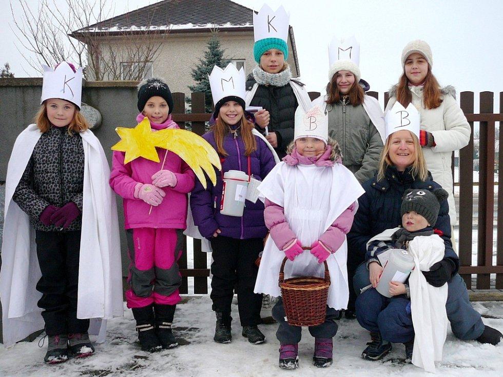 Tříkrálová sbírka v obci Urbanice.
