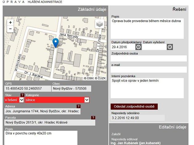 Lidé v Novém Bydžově mohou od začátku února hlásit závady ve městě on-line.