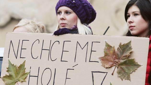 Demonstrace před královéhradeckým magistrátem proti kácení stromů u řeky Orlice.