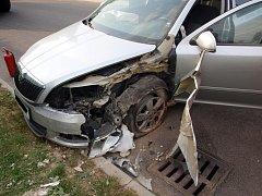 Havárie osobního automobilu u obce Prasek.