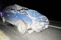 Havárie osobního automobilu v katastru obce Dolní Přím.