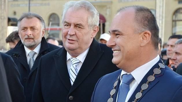 Miloš Zeman se starostou Náchoda Janem Birke