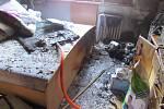 Požár bytu v hradecké Pouchovské ulici.
