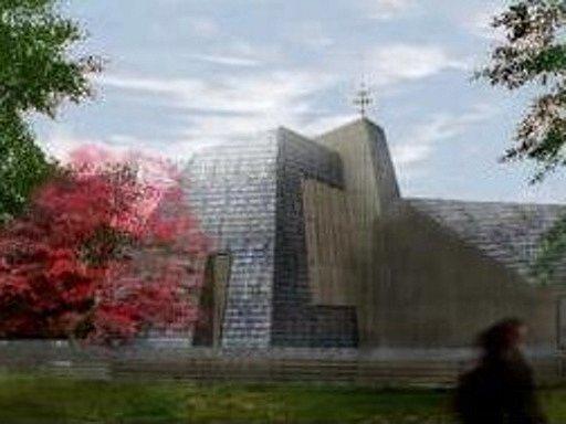 Futuristicky vyhlížející dřevěný kostel Archanděla Michaela na vizualizaci.