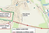 Nově zřízená dočasná výstupní zastávka v Malšově Lhotě.