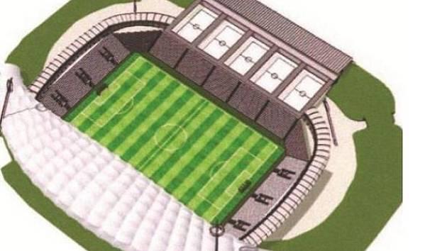 Studie městského stadionu v Hradci Králové podle architektů z ČVUT.