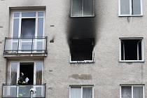 Požár bytu v Písečné ulici v Malšovicích v Hradci Králové.