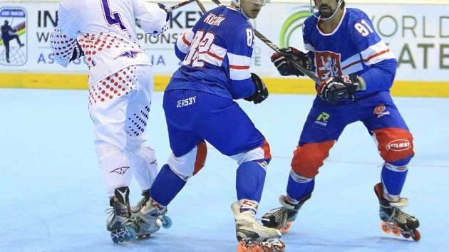 Filip Kuťák na mistrovství světa v inline hokeji.