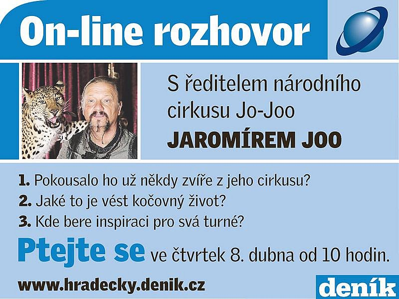 On-line rozhovor s Jaromírem Joo, ředitelem národního cirkusu Jo-Joo.