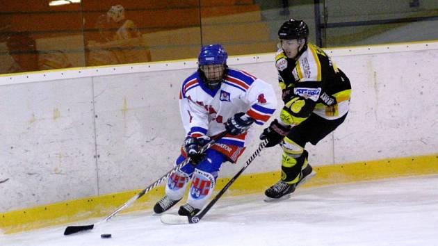Krajská hokejová liga - semifinále play off: HC Náchod - Stadion Nový Bydžov.
