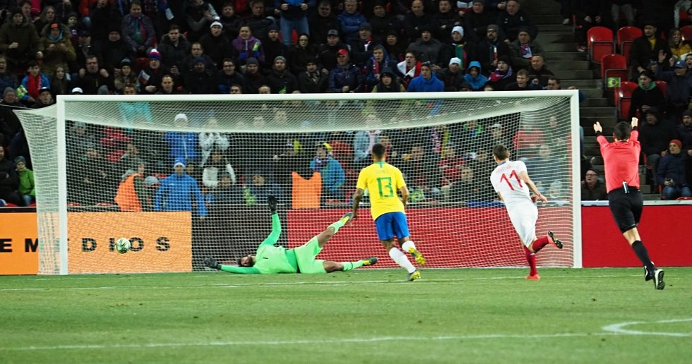 Česká gólová radost proti Brazilcům.