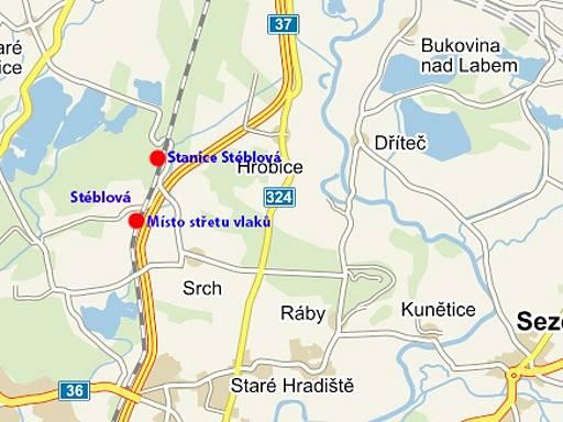 Zobrazení místa tragédie u Stéblové.